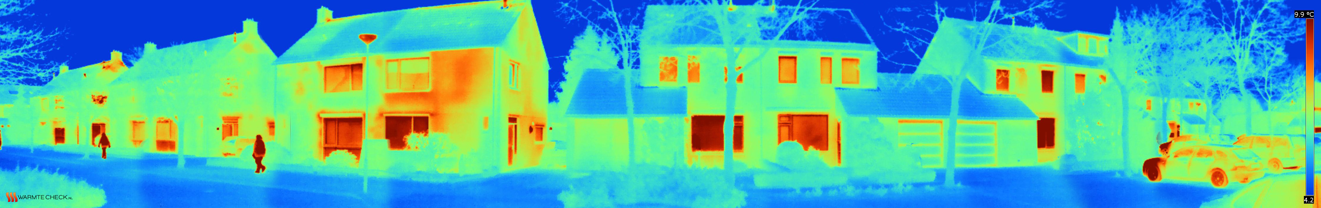 Thermografish beeld welke laat zien waar warmte weglekt